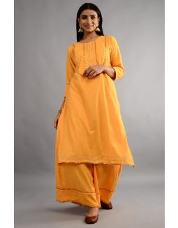 Gold Yellow Plain Kurta Palazzo Set