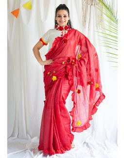 Red Handmade Cotton Saree with Blouse