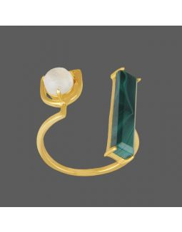 Green Stone Pearl Golden Ring