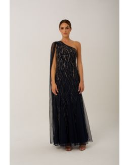 Navy and Golden One Shoulder Maxi Gown