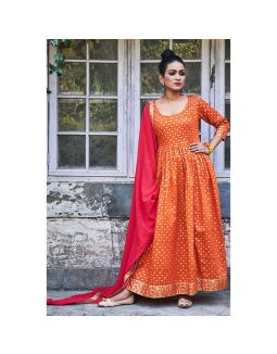 Orange Golden Printed Dress with Dupatta