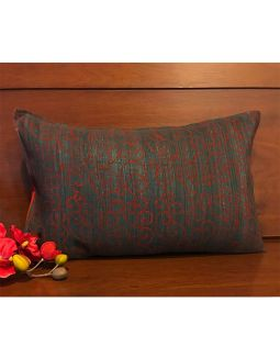 Block Printed Grey and Red Cushion Cover