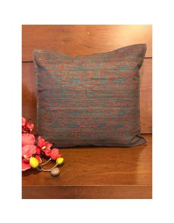 Grey and Red Block Printed Cushion Cover