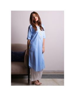 Blue White Kurta Pants Set