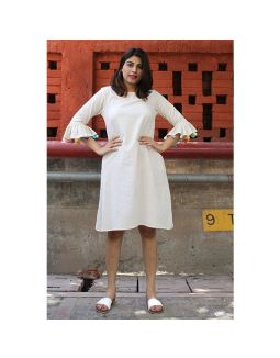Beige Dress With Wooden Buttons