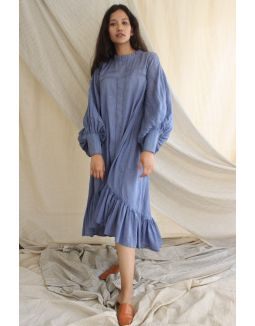 Blue Hi-Lo Mulmul Dress