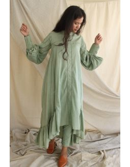 Mint Green Hi-Lo Mulmul Dress