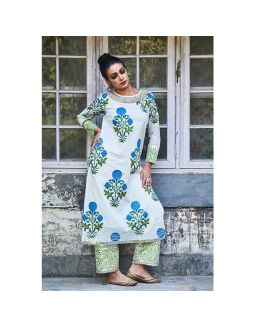 White and Blue Floral Kurta and Pants
