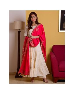Off White Kurta Palazzo Set with Red Printed Dupatta