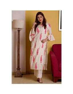 Off White Hand Block Printed Kurta Pant Set