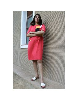 Red Midi Dress With Front Placket