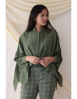 Olive Green Mulmul Over-sized Shirt