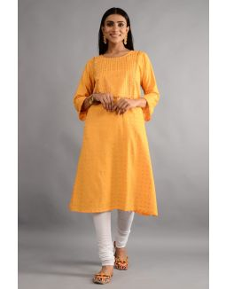 Gold and White Kurta Chudidar With Dupatta