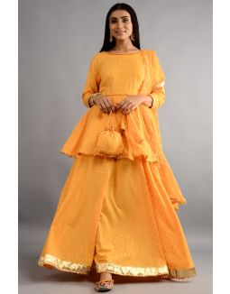 Gold Yellow Kurta Skirt With Dupatta