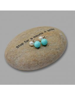 White and Blue Pearl Earrings