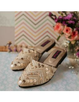 Ivory-creme sequential blings Slip ons
