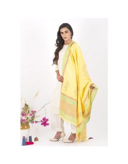 White Kurta and Pants Set with Yellow Dupatta