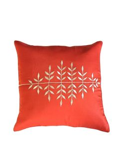 Orange with Leaves Embroidery Cushion Cover