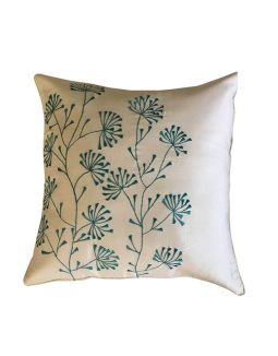 Cream with Turquoise Embroidery Cushion Cover