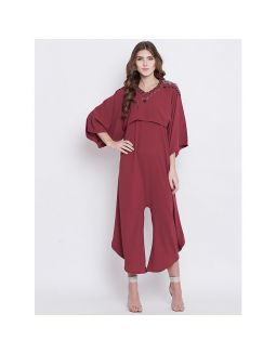 Marron Jumpsuit with Embroidered Capelet