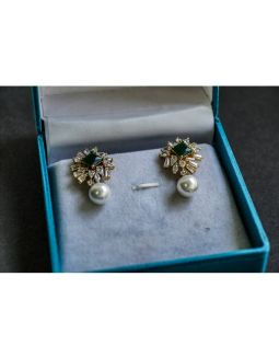 Emerald Earrings with Pearl