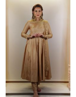 Golden Embellished Anarkali Set