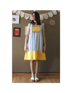 Blue Lining Dress With Tassels