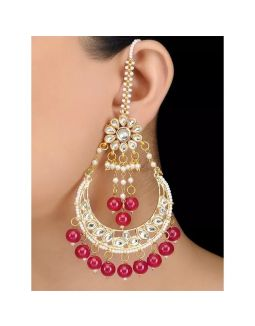 Ruby Beads Kundan Chandbali