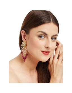 Kundan Floral Earrings with Ruby Drop