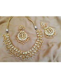 Golden Kundan and Pearl Necklace