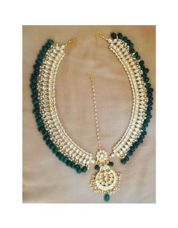 Green Kundan Matha Patti
