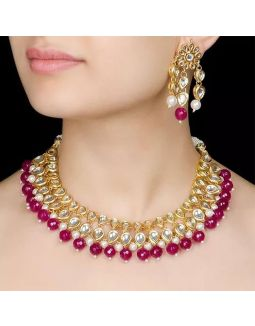 Maroon Pearl Kundan Necklace Set