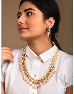 Ivory and Pink beaded Kundan inspired necklace with earrings