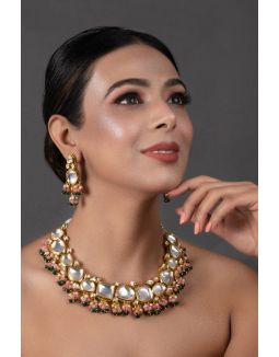 Pink Green Gold Tone Kundan Necklace with Earrings