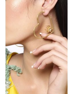 Gold Heart Trident Hoops