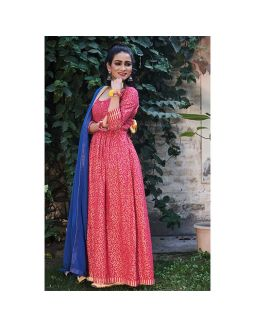 Pink Golden Printed Dress with Dupatta