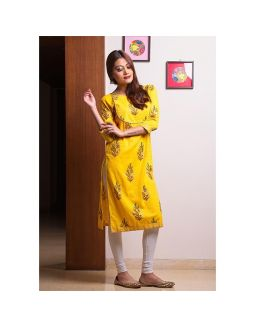 Hand Block Printed Yellow Kurta