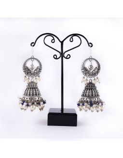 Silver Jhumkas with Pearl Drop