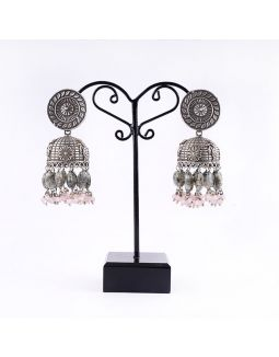 Silver Jhumkas with Grey and Pink Jades