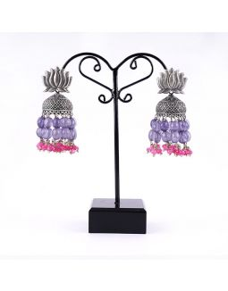 Lotus Jhumkas with Purple and Magenta Jades