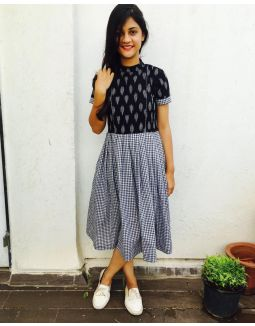 Black and White Ikat Gingham Dress