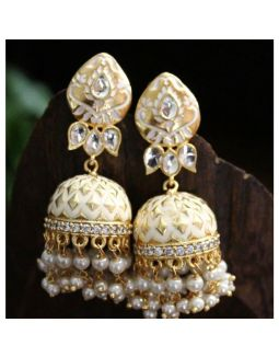 Enameled Ivory and Gold Jhumkis