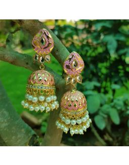 Enameled Pink and Gold Jhumkis