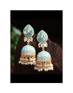 Enameled Sea Blue and Gold Jhumkis