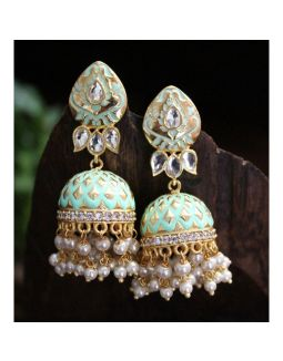 Enameled Mint Green and Gold Jhumkis
