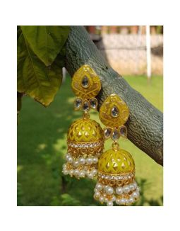 Enameled Yellow and Gold Jhumkis