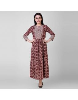 Rust Dabu Printed Cotton Dress