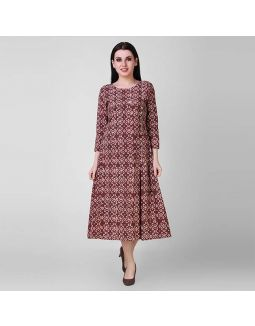 Rust Dabu Cotton Side Pleat Dress