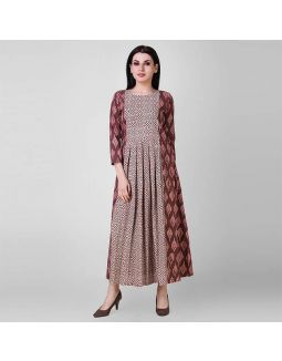 Rust Dabu Pleated Cotton Dress
