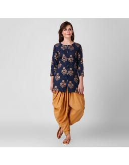 Blue and Gold Tunic Dhoti Set